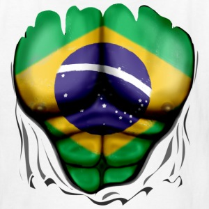Brazil Flag Ripped Muscles, six pack, chest t-shirt - Kids' T-Shirt