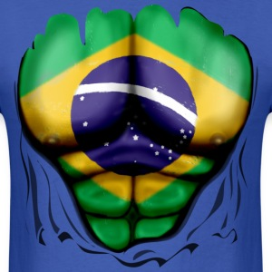 Brazil Flag Ripped Muscles, six pack, chest t-shirt - Men's T-Shirt