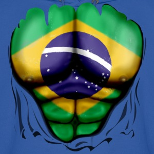 Brazil Flag Ripped Muscles, six pack, chest t-shirt - Men's Hoodie