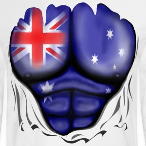 Australia Flag Ripped Muscles, six pack, chest t-shirt - Men's Long Sleeve T-Shirt