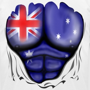 Australia Flag Ripped Muscles, six pack, chest t-shirt - Men's T-Shirt by American Apparel