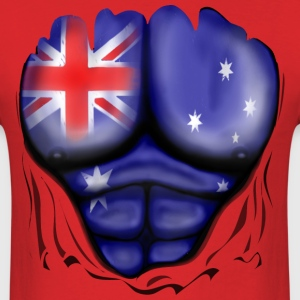 Australia Flag Ripped Muscles, six pack, chest t-shirt - Men's T-Shirt