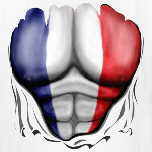France Flag Ripped Muscles, six pack, chest t-shirt - Kids' T-Shirt