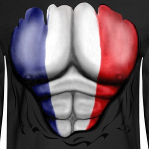 France Flag Ripped Muscles, six pack, chest t-shirt - Men's Long Sleeve T-Shirt