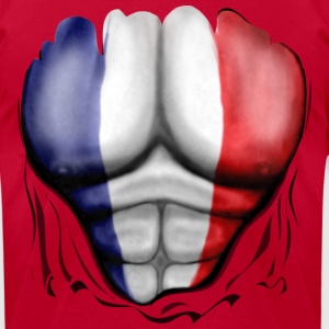 France Flag Ripped Muscles, six pack, chest t-shirt - Men's T-Shirt by American Apparel