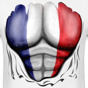 France Flag Ripped Muscles, six pack, chest t-shirt - Men's T-Shirt
