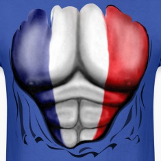 France Flag Ripped Muscles, six pack, chest t-shirt
