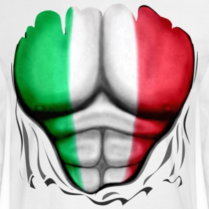 Italy Flag Ripped Muscles, six pack, chest t-shirt - Men's Long Sleeve T-Shirt