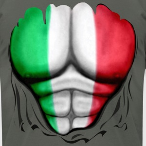 Italy Flag Ripped Muscles, six pack, chest t-shirt - Men's T-Shirt by American Apparel
