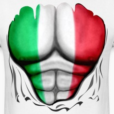 Italy Flag Ripped Muscles, six pack, chest t-shirt