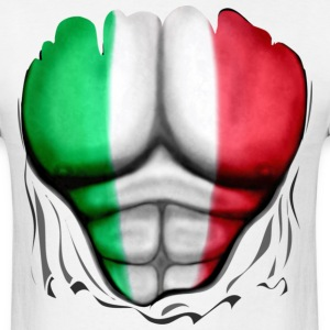 Italy Flag Ripped Muscles, six pack, chest t-shirt - Men's T-Shirt