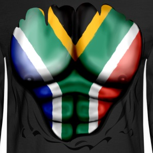 South Africa Flag Ripped Muscles, six pack, chest t-shirt - Men's Long Sleeve T-Shirt