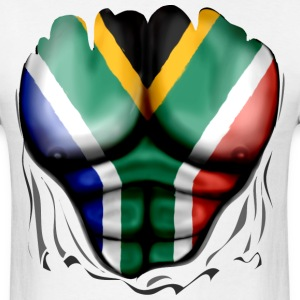 South Africa Flag Ripped Muscles, six pack, chest t-shirt - Men's T-Shirt