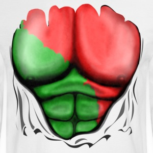 Portugal Flag Ripped Muscles, six pack, chest t-shirt - Men's Long Sleeve T-Shirt