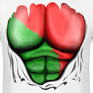 Portugal Flag Ripped Muscles, six pack, chest t-shirt - Men's T-Shirt