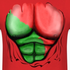 Portugal Flag Ripped Muscles, six pack, chest t-shirt
