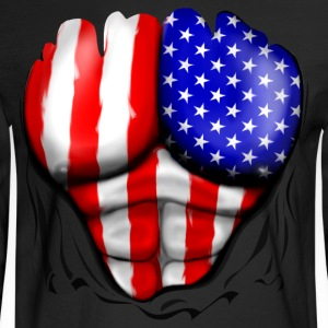 USA Flag Ripped Muscles, six pack, chest t-shirt - Men's Long Sleeve T-Shirt
