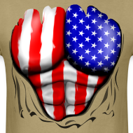 Design ~ USA Flag Ripped Muscles, six pack, chest t-shirt