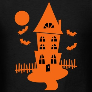 Black Halloween Haunted House With Bats And Moon--VECTOR T-Shirts - Men's T-Shirt