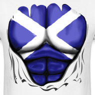 Design ~ Scotland Flag Ripped Muscles, six pack, chest t-shirt