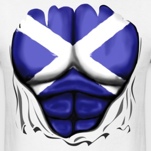 Scotland Flag Ripped Muscles, six pack, chest t-shirt - Men's T-Shirt