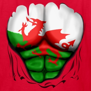 Wales Flag Ripped Muscles, six pack, chest t-shirt - Kids' T-Shirt