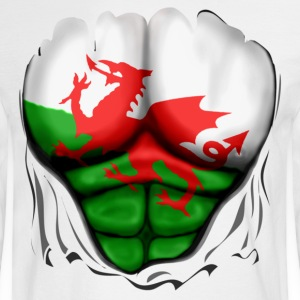 Wales Flag Ripped Muscles, six pack, chest t-shirt - Men's Long Sleeve T-Shirt