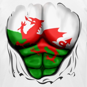 Wales Flag Ripped Muscles, six pack, chest t-shirt - Men's T-Shirt by American Apparel