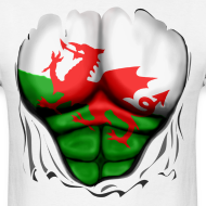 Design ~ Wales Flag Ripped Muscles, six pack, chest t-shirt