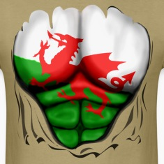 Wales Flag Ripped Muscles, six pack, chest t-shirt