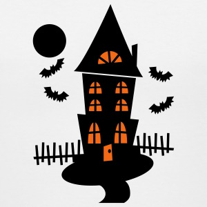 White Halloween Haunted House With Bats And Moon--VECTOR Women's T-Shirts - Women's V-Neck T-Shirt
