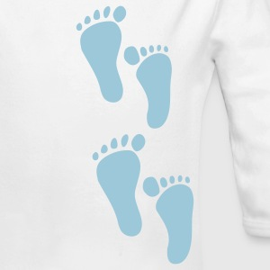 White Foot Step Baby Body - Long Sleeve Baby Bodysuit