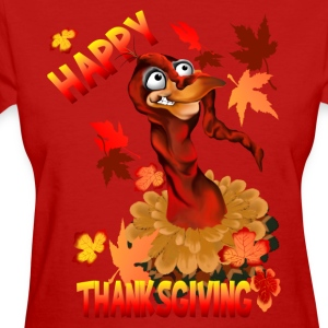 Thanksgiving Turkey and Autumn Leaves - Women's T-Shirt
