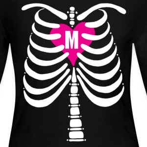 Skeleton Bones with Monogrammed Heart: Women's Long Sleeve Jersey T-Shirt: Front & Back - Women's Long Sleeve Jersey T-Shirt