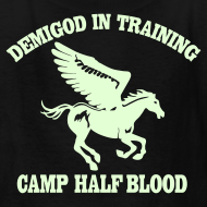 Design ~ GLOW IN THE DARK DEMIGOD Kid's T-Shirt - Pegasus Halloween Limited Edition