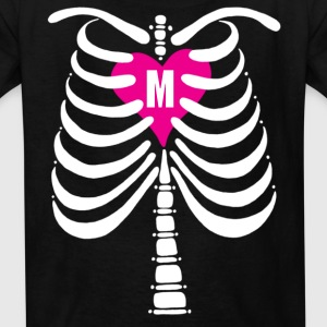 Skeleton Bones with Monogrammed Heart: Children's T-Shirt: Front & Back - Kids' T-Shirt