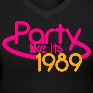 PARTY like its 1989 NEON sign Women's T-Shirts - Women's V-Neck T-Shirt