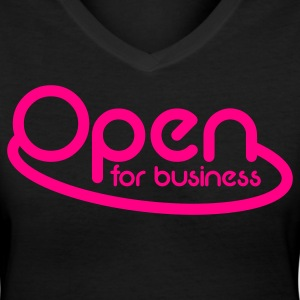 OPEN for business  NEON sign Women's T-Shirts - Women's V-Neck T-Shirt