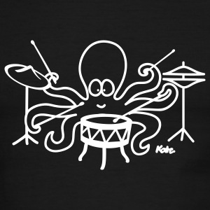 Green/white  Octopus drummer T-Shirts - Men's Ringer T-Shirt