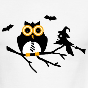 White/black owl and bird sitting on a branch T-Shirts - Men's Ringer T-Shirt
