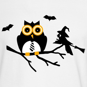 White owl and bird sitting on a branch Long Sleeve Shirts - Men's Long Sleeve T-Shirt