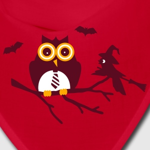 Red owl and bird sitting on a branch Caps - Bandana