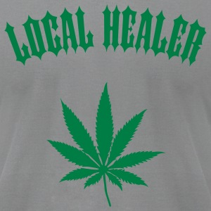 Local Healer - Marijuana Leaf (1-color custom) T-Shirts - Men's T-Shirt by American Apparel