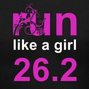 Black run like a girl 26.2 Women's T-Shirts - Women's V-Neck T-Shirt