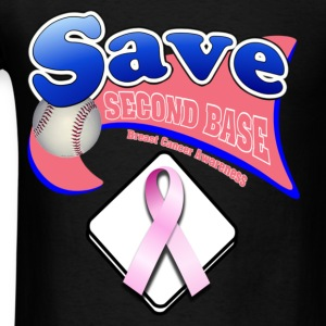 Black Save Second Base Plate Pink Ribbon T-Shirts - Men's T-Shirt