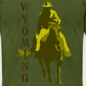 Olive Wyoming T-Shirts - Men's T-Shirt by American Apparel