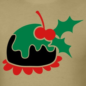 Christmas pudding with cherry and mistletoe T-Shirts - Men's T-Shirt