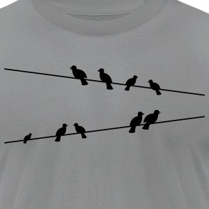 Birds on electric wires T-Shirts - Men's T-Shirt by American Apparel