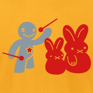 voodoo happy children voodoo doll threatening rabbits T-Shirts - Men's T-Shirt by American Apparel