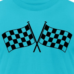 two checkered flags RACING MOTOR SPORTS T-Shirts - Men's T-Shirt by American Apparel